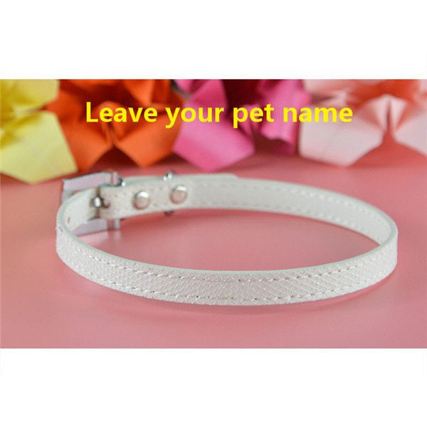 Personalized Bling charm Dog/Puppy Collar-Accessories-White-Neck 16 to 21 cm-Pets Hub Home