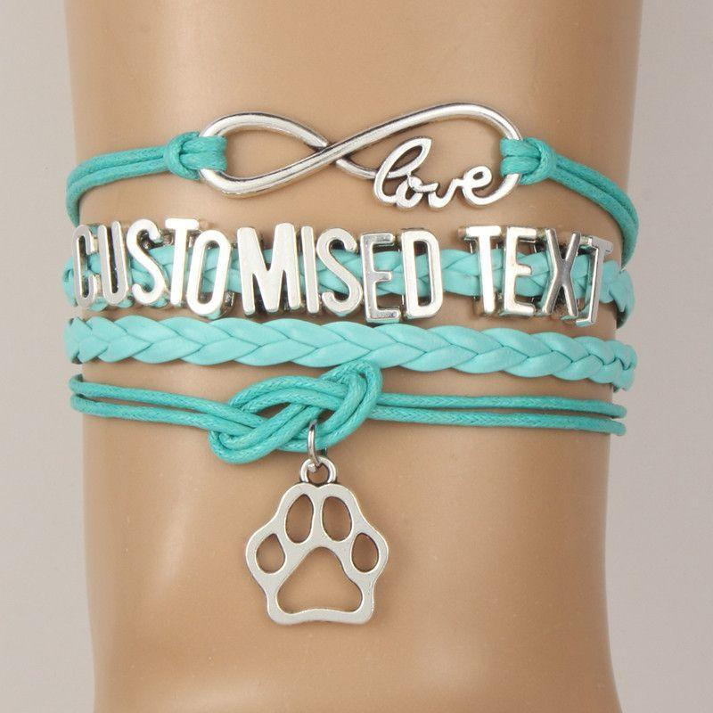 Wedding Gifts For Dog Lovers: Personalized Infinity Love Dog Paw Charm Bracelet