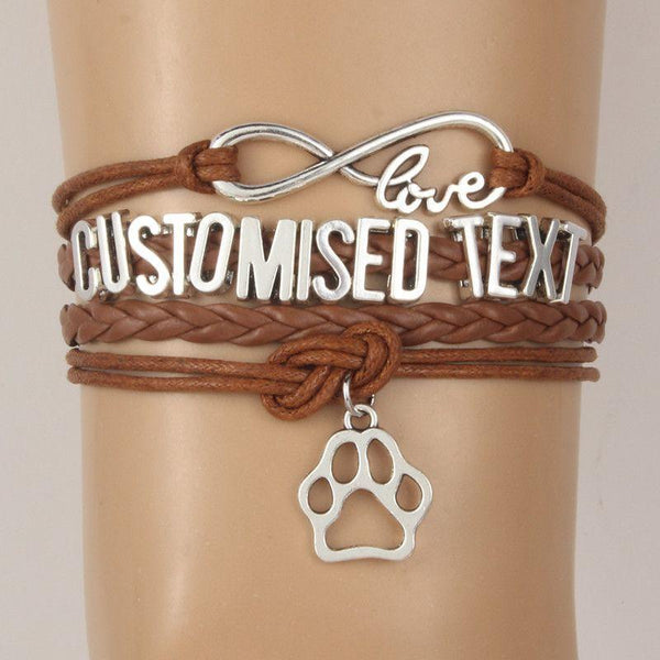 Personalized Infinity Love Dog Paw Charm Bracelet-Themed Gifts-Pets Hub Home