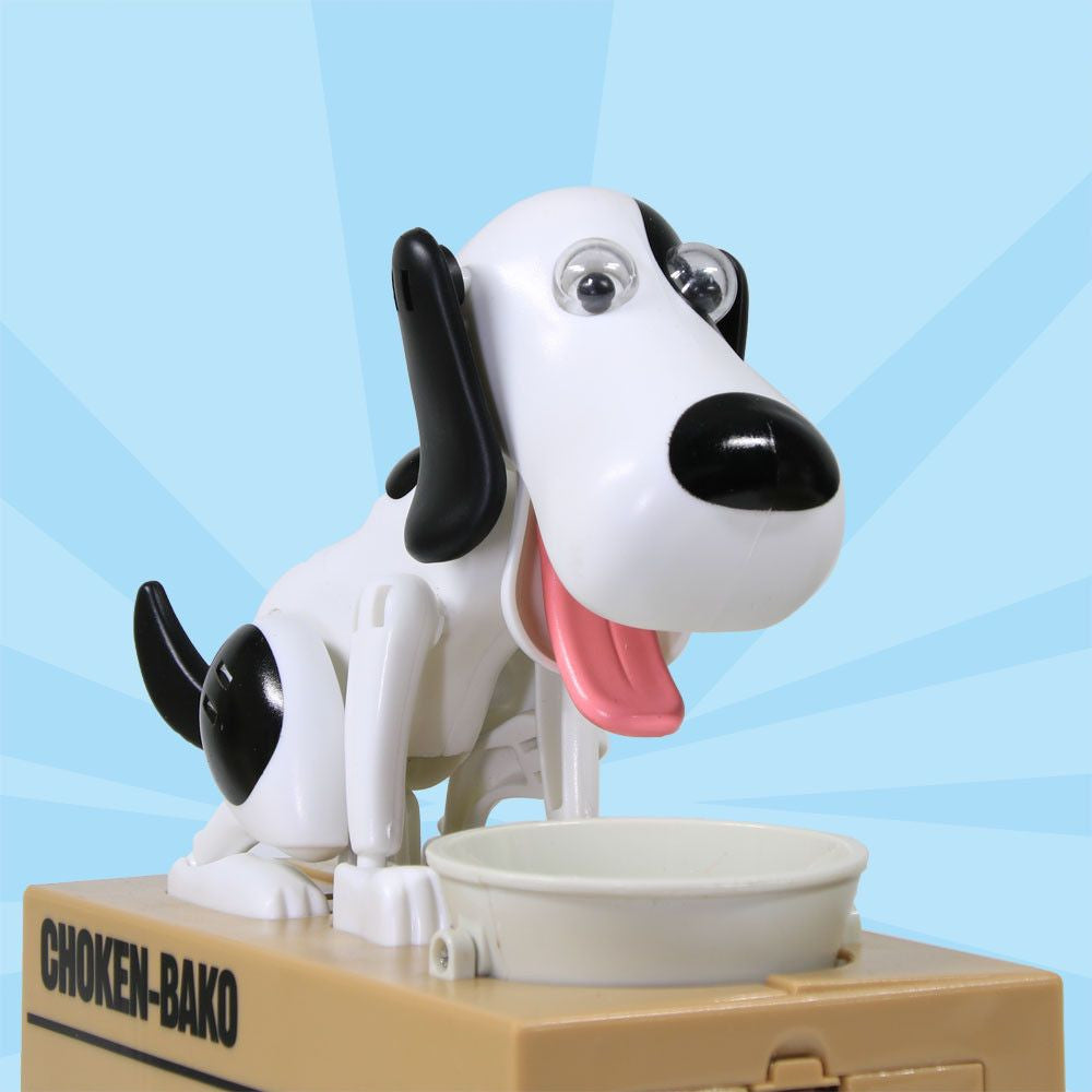 Robotic Cute Dog Coin Piggy Bank-Themed Gifts-White with black-Pets Hub Home