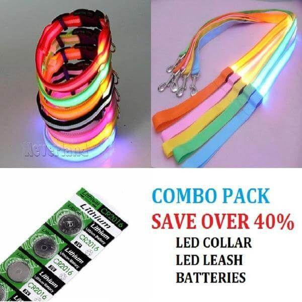 Safety LED Combo Pack - Collar-Leash-Batteries-Safety-Pets Hub Home