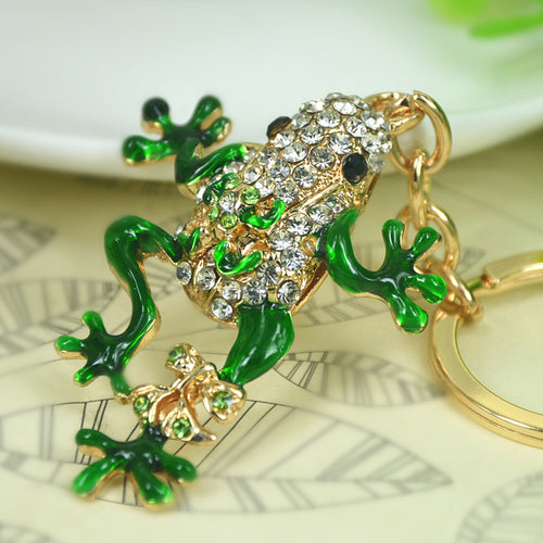 Beautiful Gold Colored Rhinestone Frog Keyring