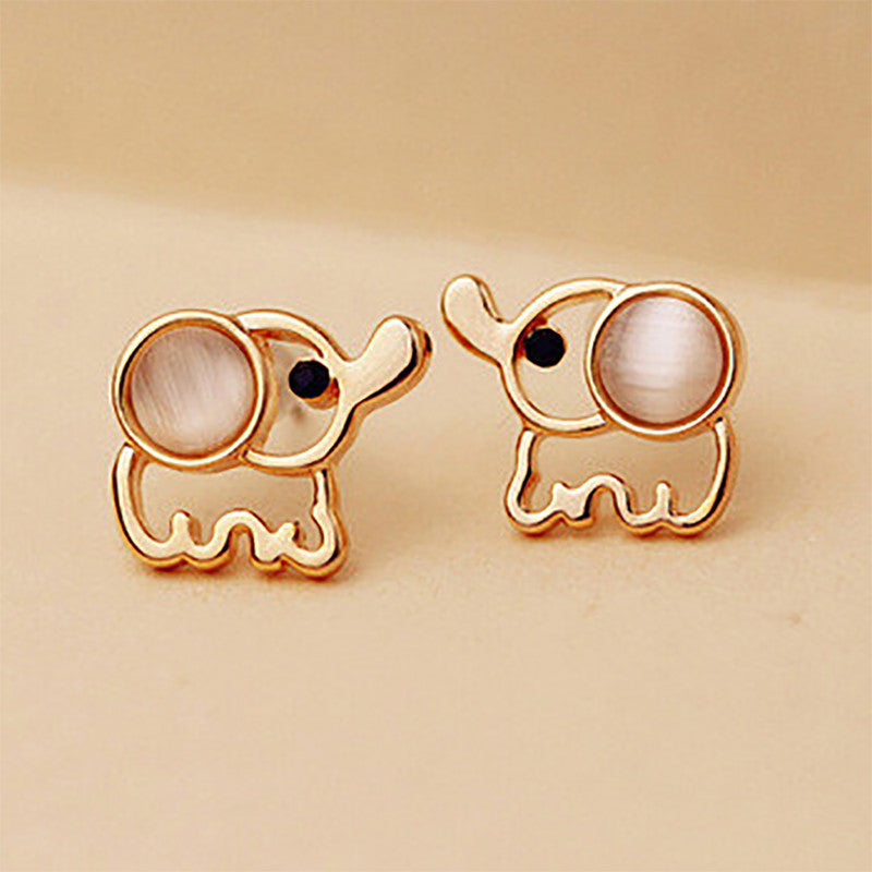 Gold Elephant White/Pink Stud Earrings