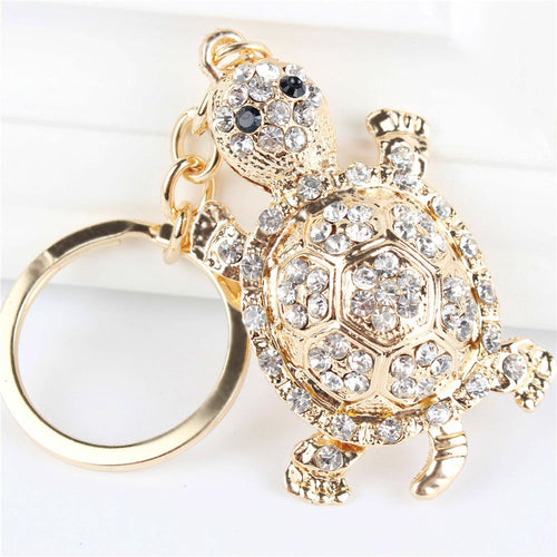 LIMITED EDITION - White Tortoise Turtle Pendant Charm Rhinestone Crystal Purse Bag Keyring