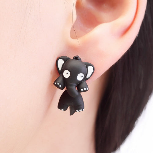 Fun Cartoon Elephant Animal Stud Earrings