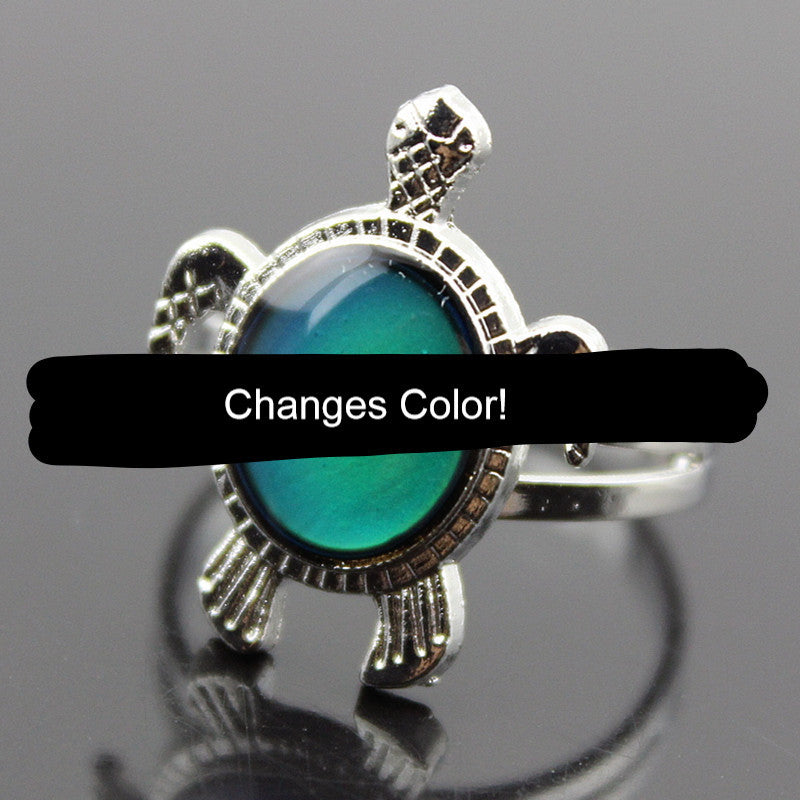 Cute Adjustable Sea Turtle Color Changing Mood Rings