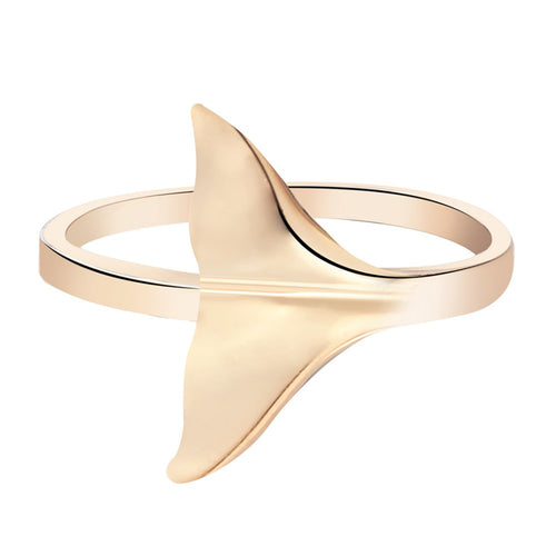 Brass Whale Tail Ring in brass Ginkgo Leaf Charm