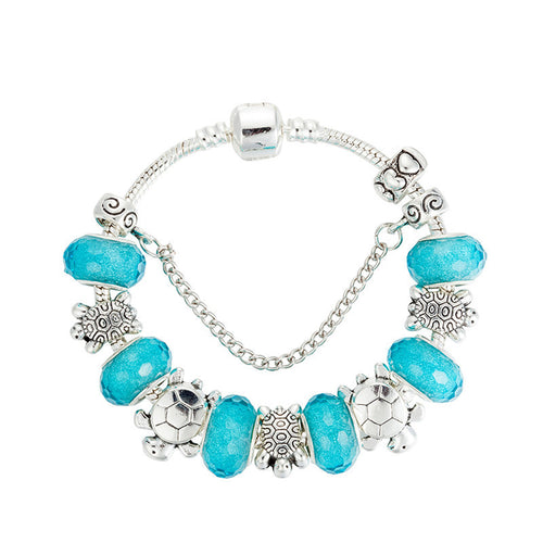 Blue Sea Turtles Metal Beads Bracelet