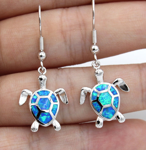 Cute Blue / White / Green / Pink Fire Opal Sea Turtle Earring