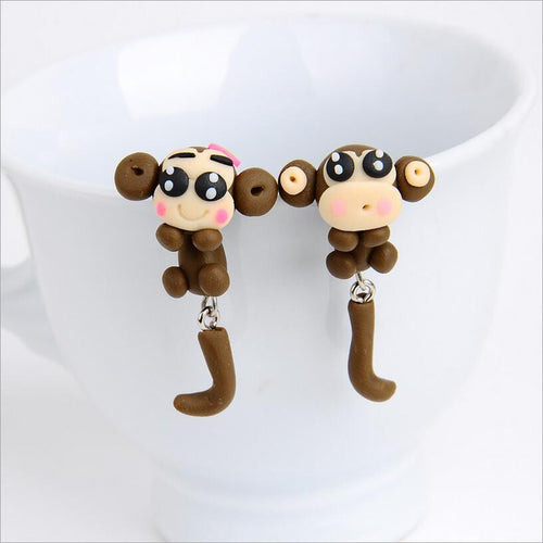 Soft Ceramic Cute Monkey Stud Earrings