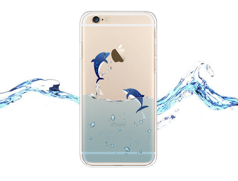 Luxury Dolphin 3D Relief Clear Transparent Soft Silicone Case For iPhone 6 iPhone6S