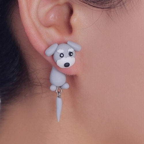 Cute Lovely Schnauzer Dog Earrings