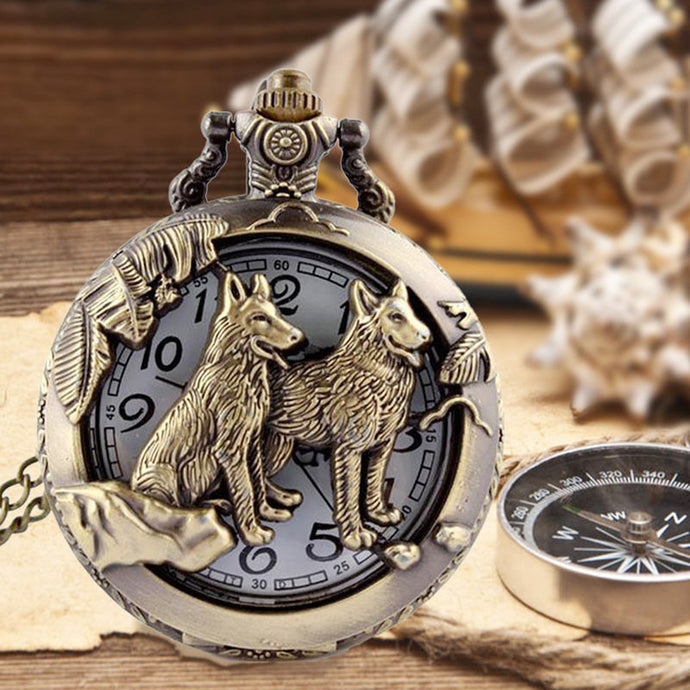 Wolf Hollow Bronze Quartz Pocket Watch