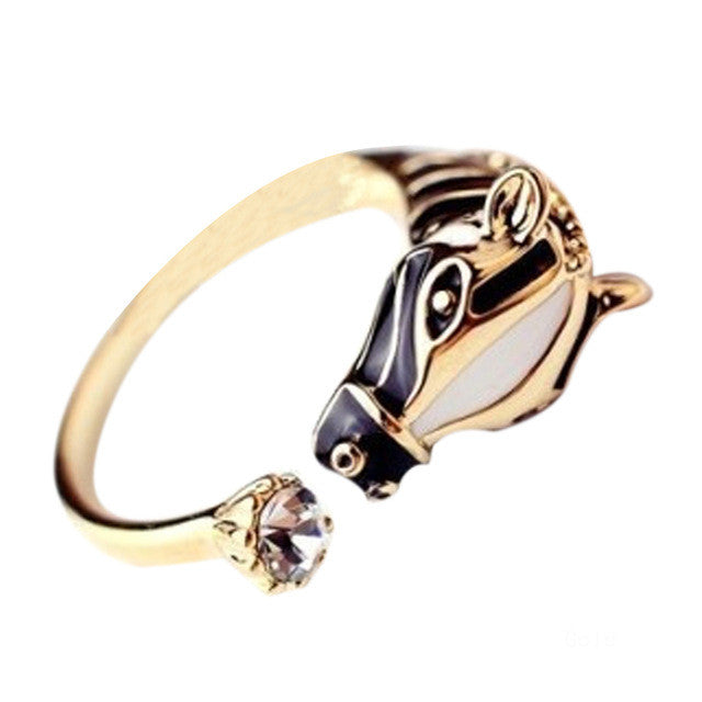 Zebra Horse Head Opening Ring