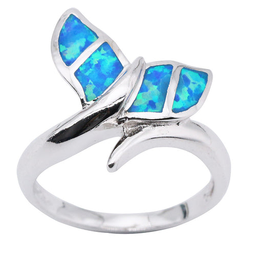 Silver Plated Blue Fire Opal Whale Tail Ring