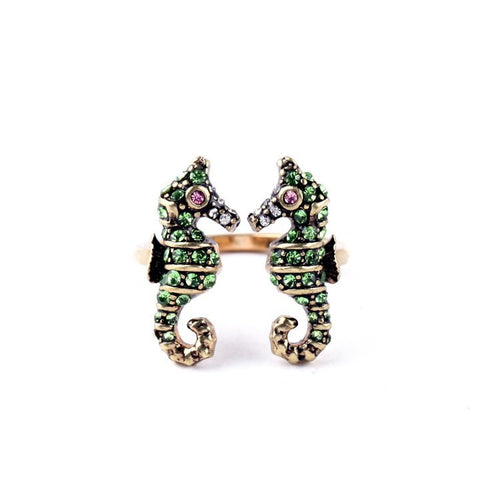 Sea Horse Imitation Emerald Ring