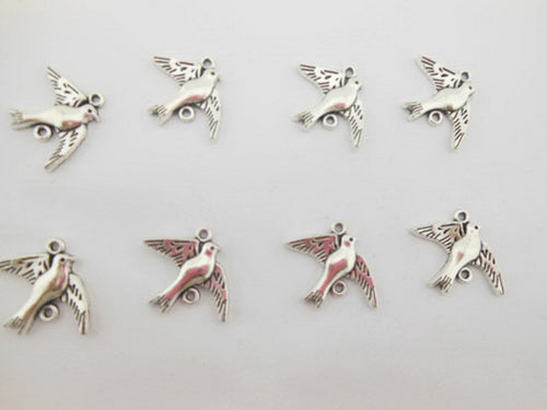 6-Piece Silver Flying Dove Bird Charms