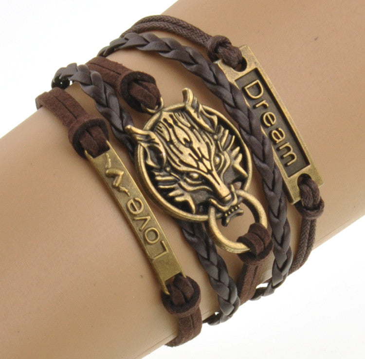 Wolf Style Brown Rope Chain Bracelet
