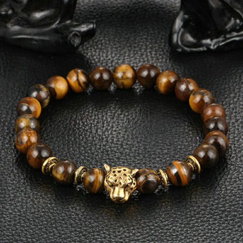 Gold Plated Leopard Head Bead Bracelet