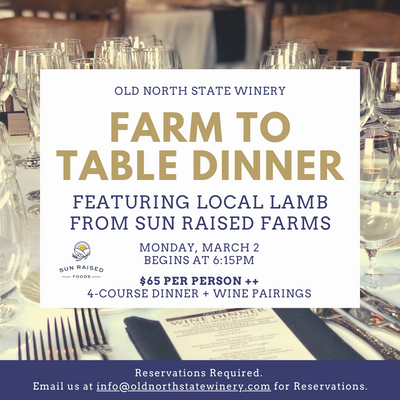 Farm to Table Dinner featuring Local Lamb from Sun Raised Farms