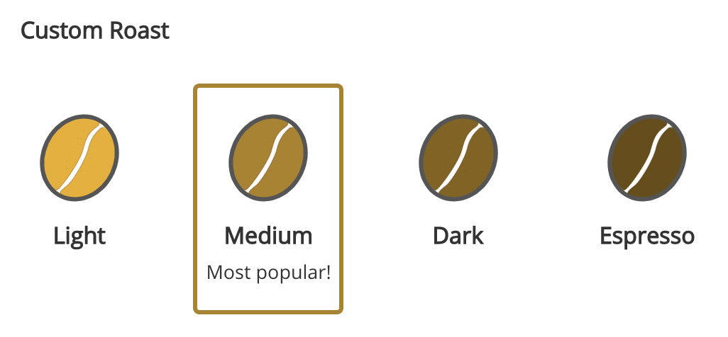 custom roast options for coffees: light, medium, dark, espresso