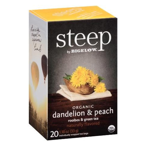 Bigelow STEEP Organic Dandelion Peach Tea 20ct