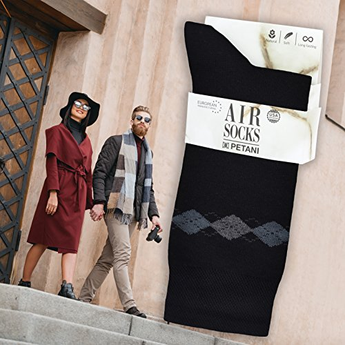 Air Mens Socks, 3 pack Rich European Dress Organic Cotton Socks Men Patterned Black