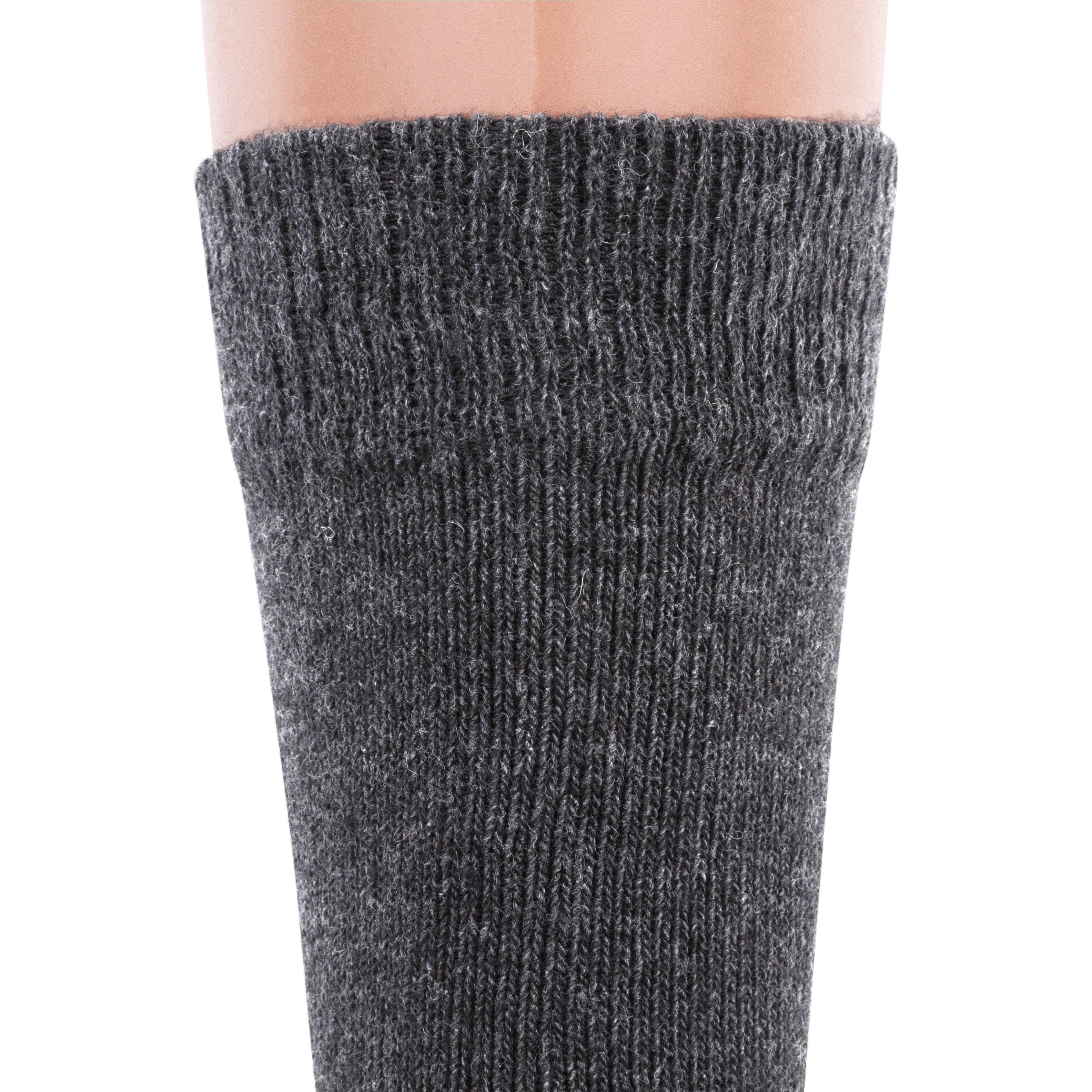 Air Wool Socks, Merino Wool Organic Cotton Thermal Heated Yarn Dress Sox, 2 pair (Grey)