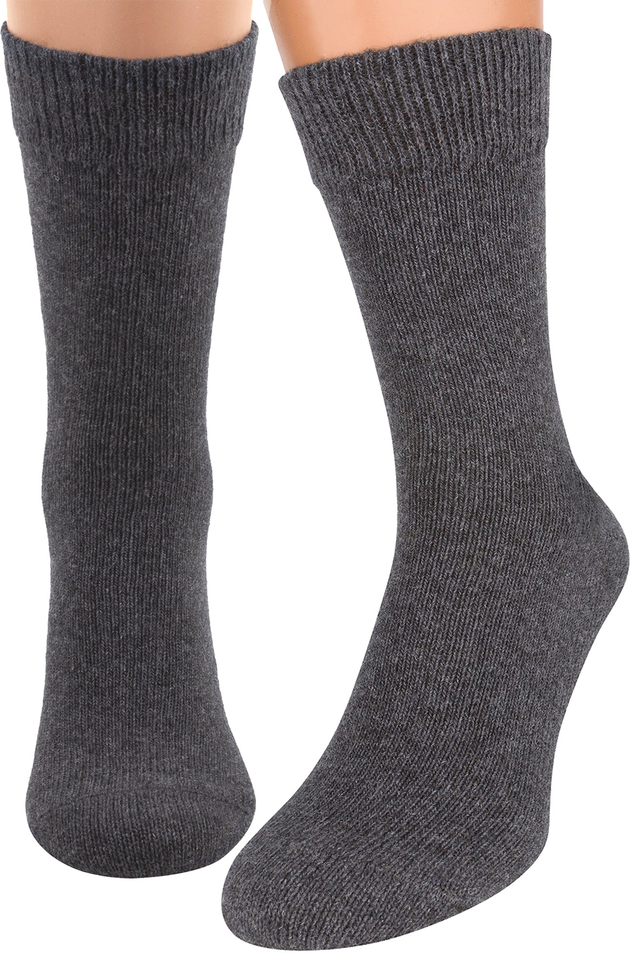 Air Wool Socks – Merino Wool Organic Cotton Heated Yarn Dress Sock, 2 packs, Grey