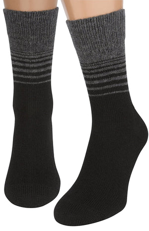 Air Wool Socks – Merino Wool Organic Cotton Heated Yarn Dress Sock, 2 packs, Striped Black