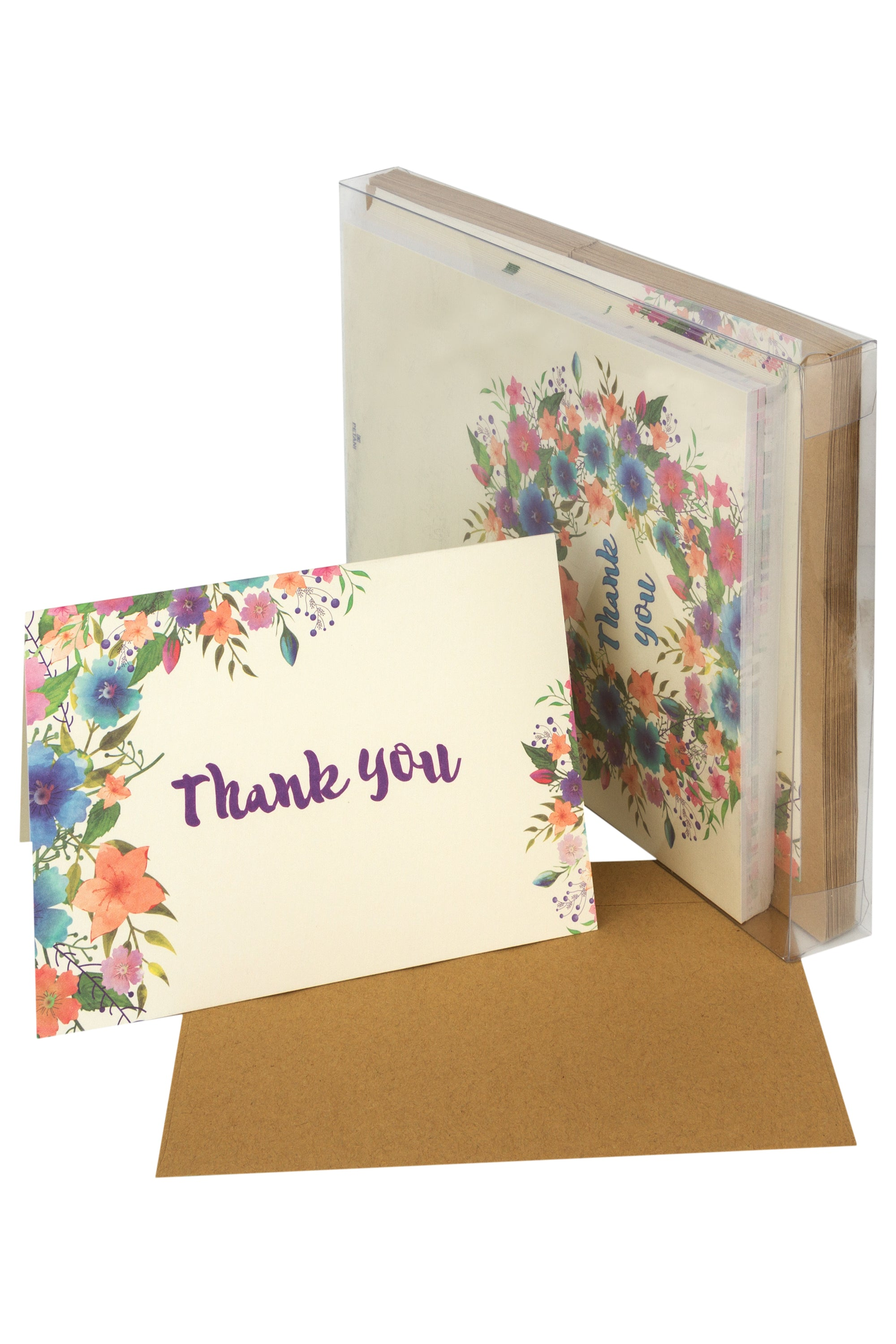 48 Baby Shower Thank You Cards, 6 Floral Watercolor Design, Box Kraft Envelopes for Wedding Parties