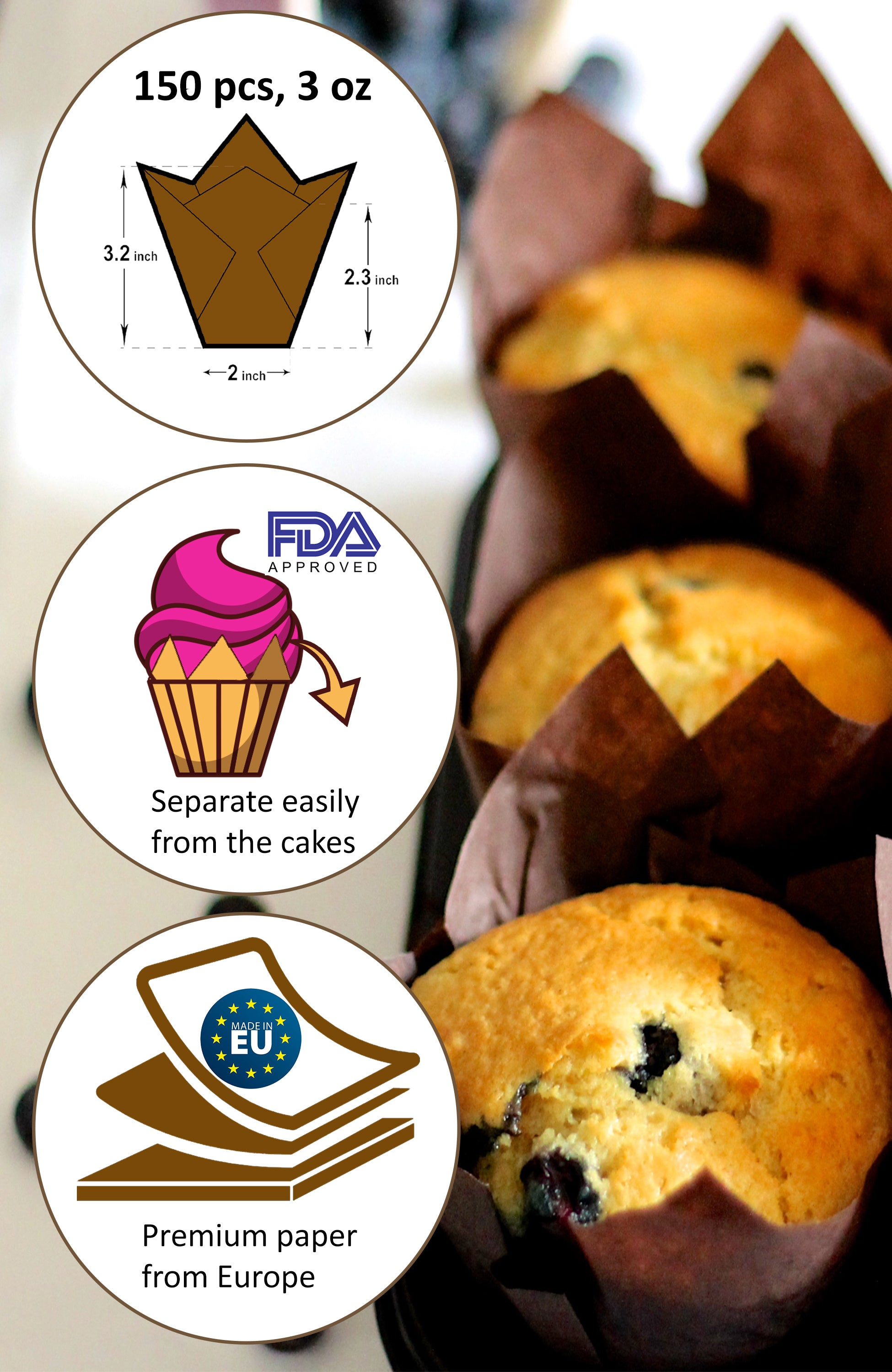 Tulip Cupcake Liners, 150 Brown Parchment Paper Baking Cups, 3 x 2 in Standard Muffin Liners Pan
