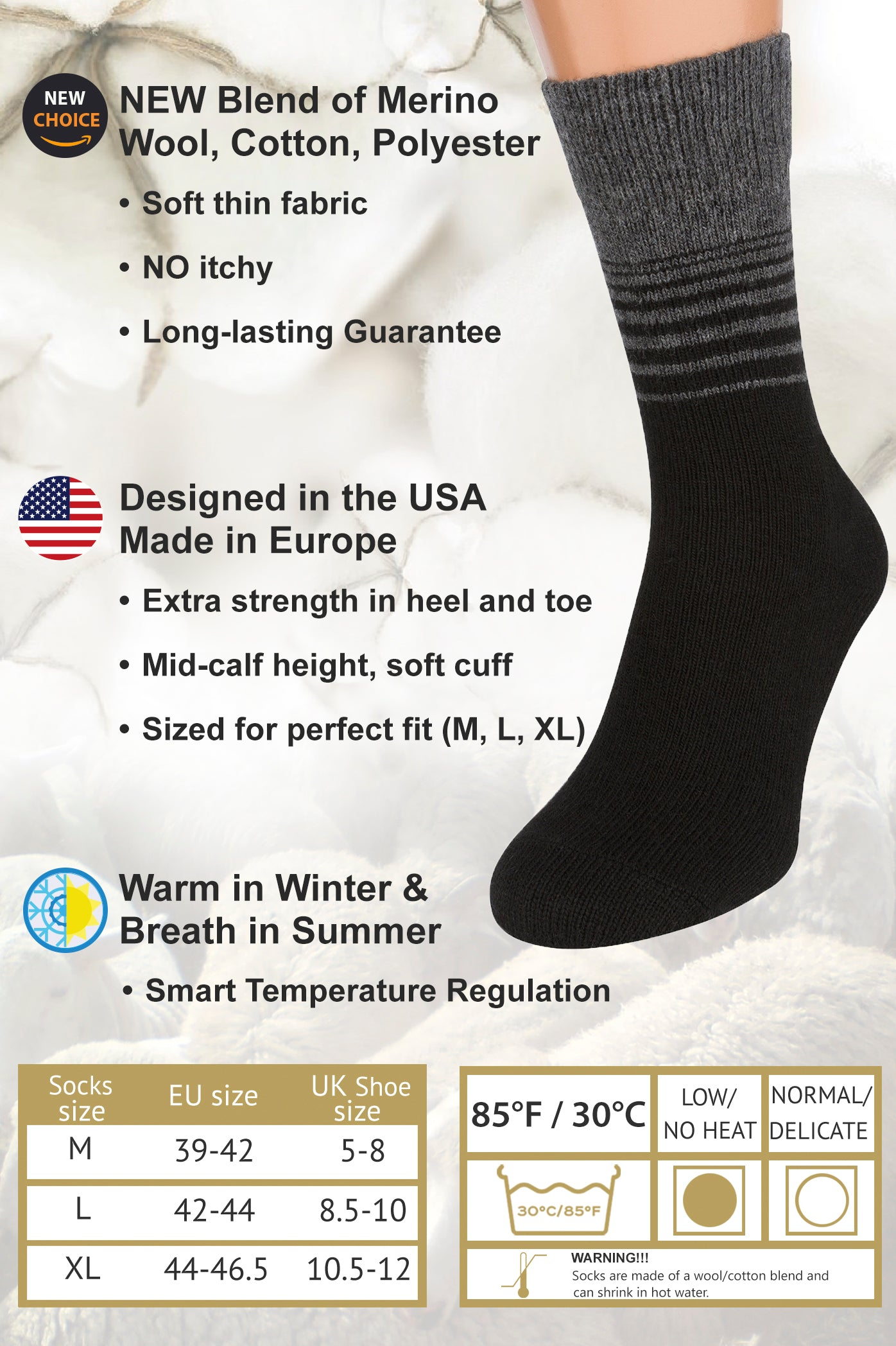 Air Wool Socks, Merino Wool Organic Cotton Thermal Heated Yarn Dress Sox, 2 pair (Striped Black)