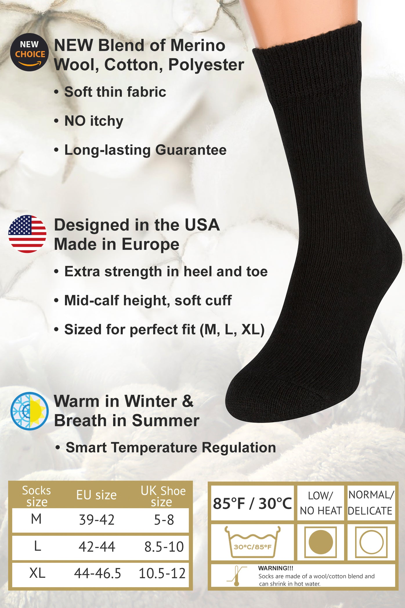 Air Wool Socks, Merino Wool Organic Cotton Thermal Heated Yarn Dress Sox, 2 pair (Black)