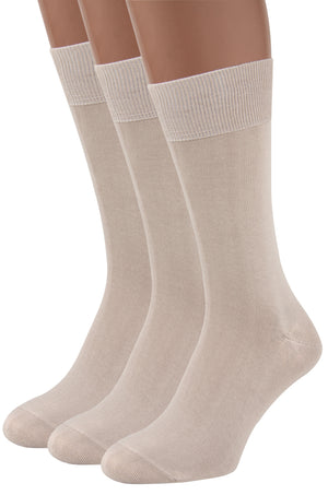 Mens Dress Socks, 3 packs Rich European Organic Cotton Beige Tan Khaki AIR SOCKS (Beige)