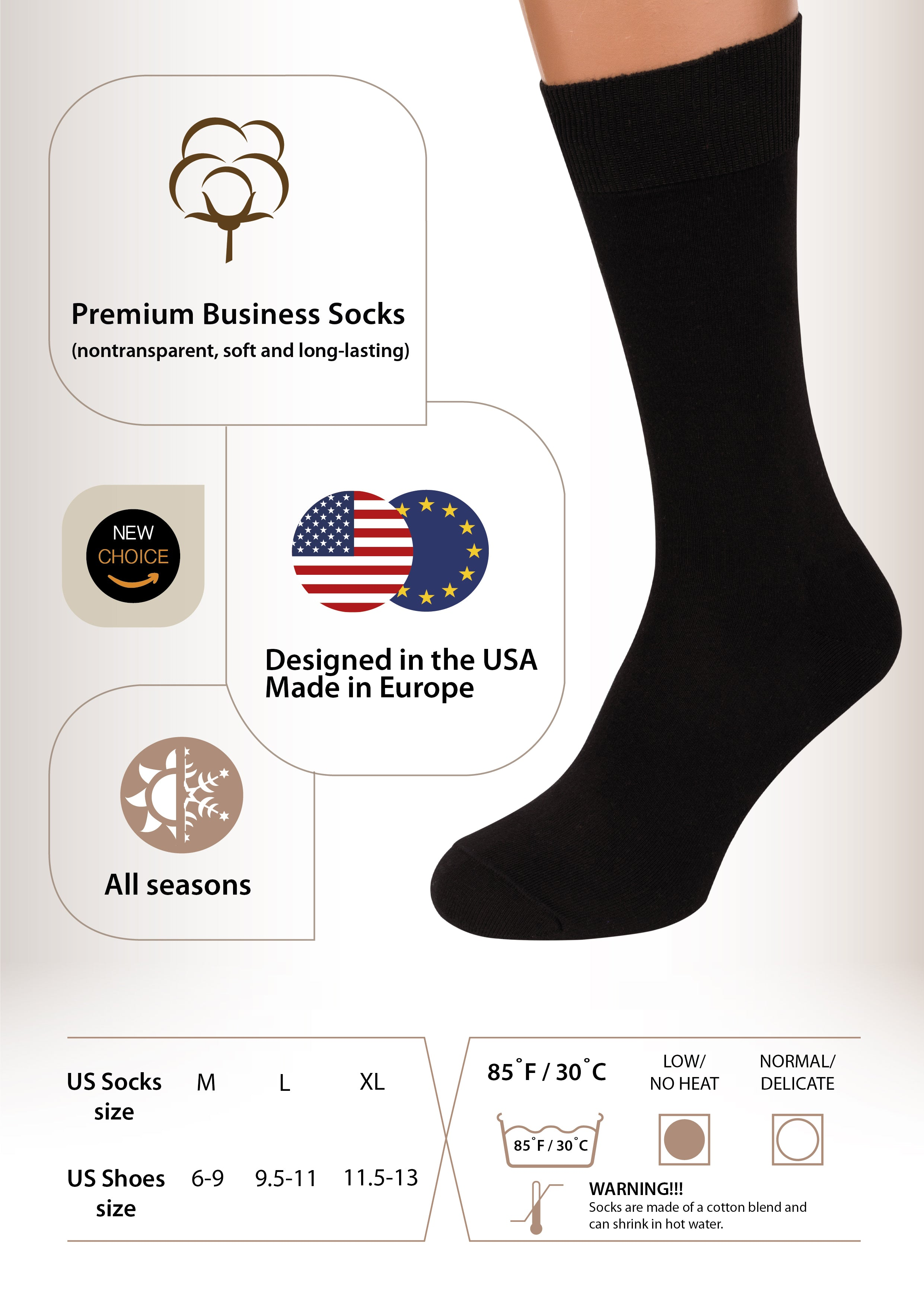 Air Mens Socks, 3 pack Rich European Dress Organic Cotton Socks Men Black