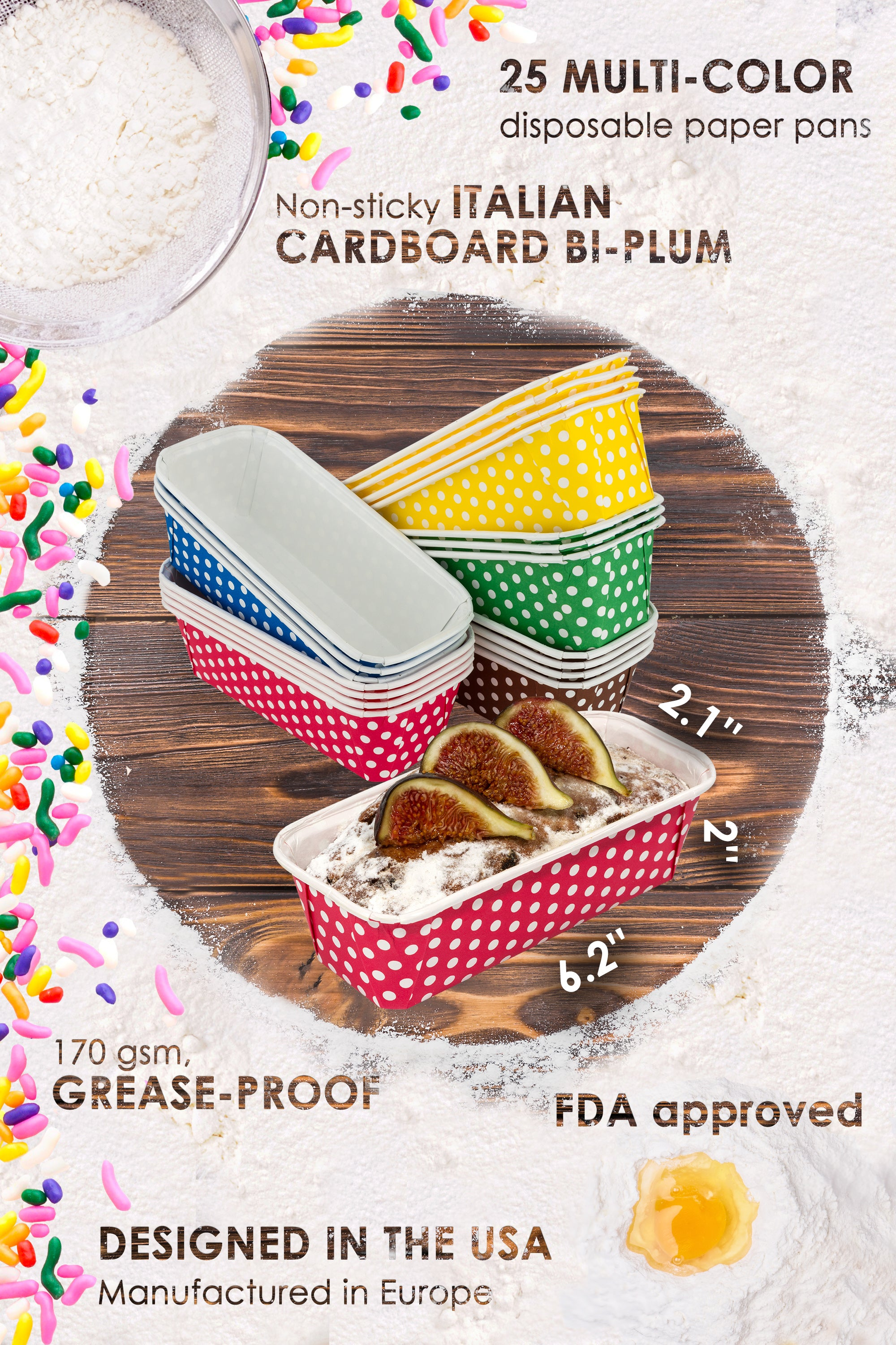 Paper Loaf Pans for Baking, 25 Loaf Pan Liners, 6x2x2 Mini Pie Pans, Brown Tart Pan Color by PETANI