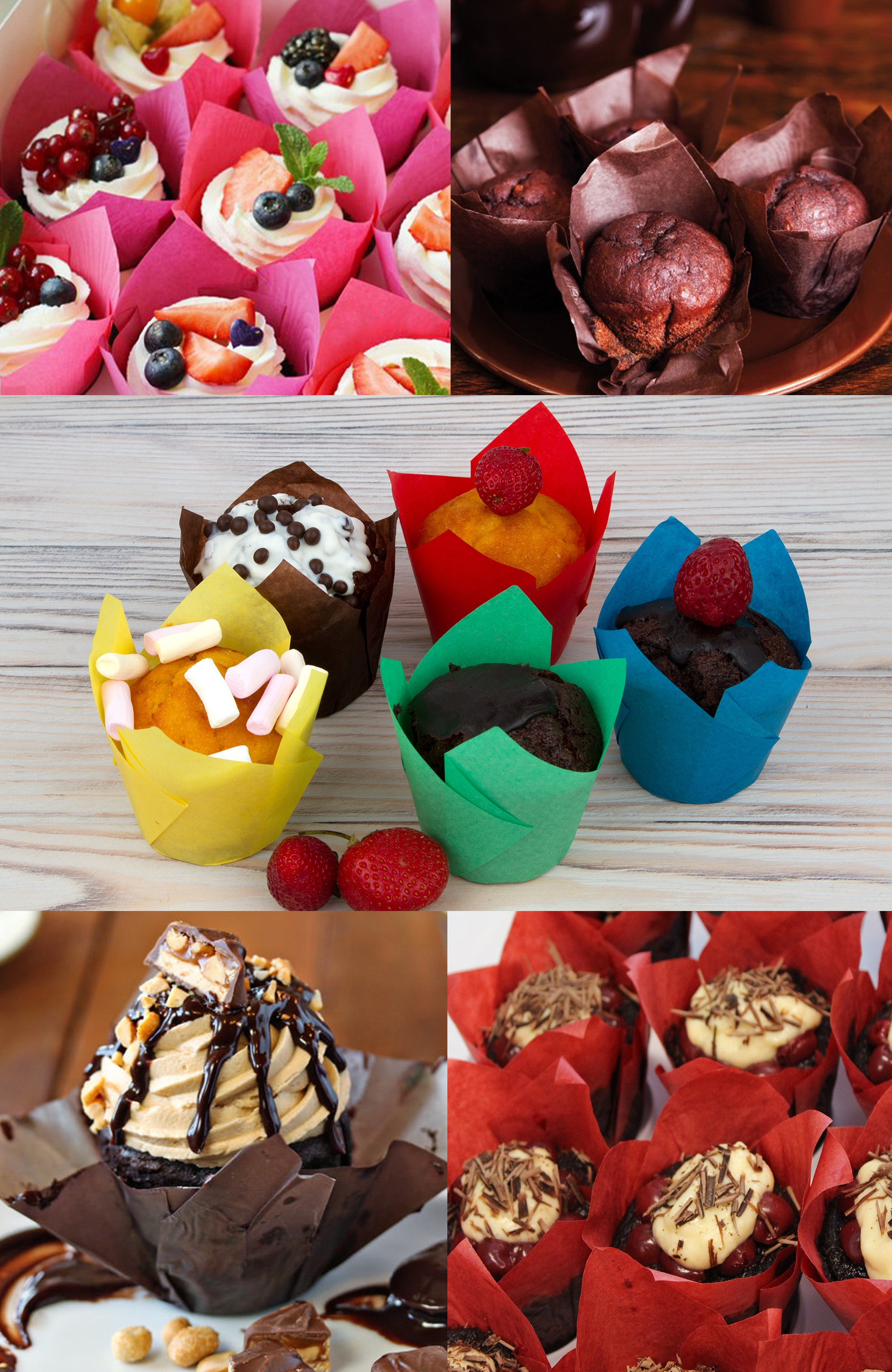 Tulip Cupcake Liners, 150 Multi Parchment Paper Baking Cups, 3 x 2 in Standard Muffin Liners Pan