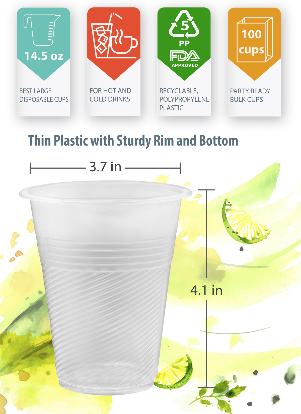 14 oz Plastic Cups Clear, 100 Thin Disposable Plastic Glassess with Sturdy Rim and Bottom