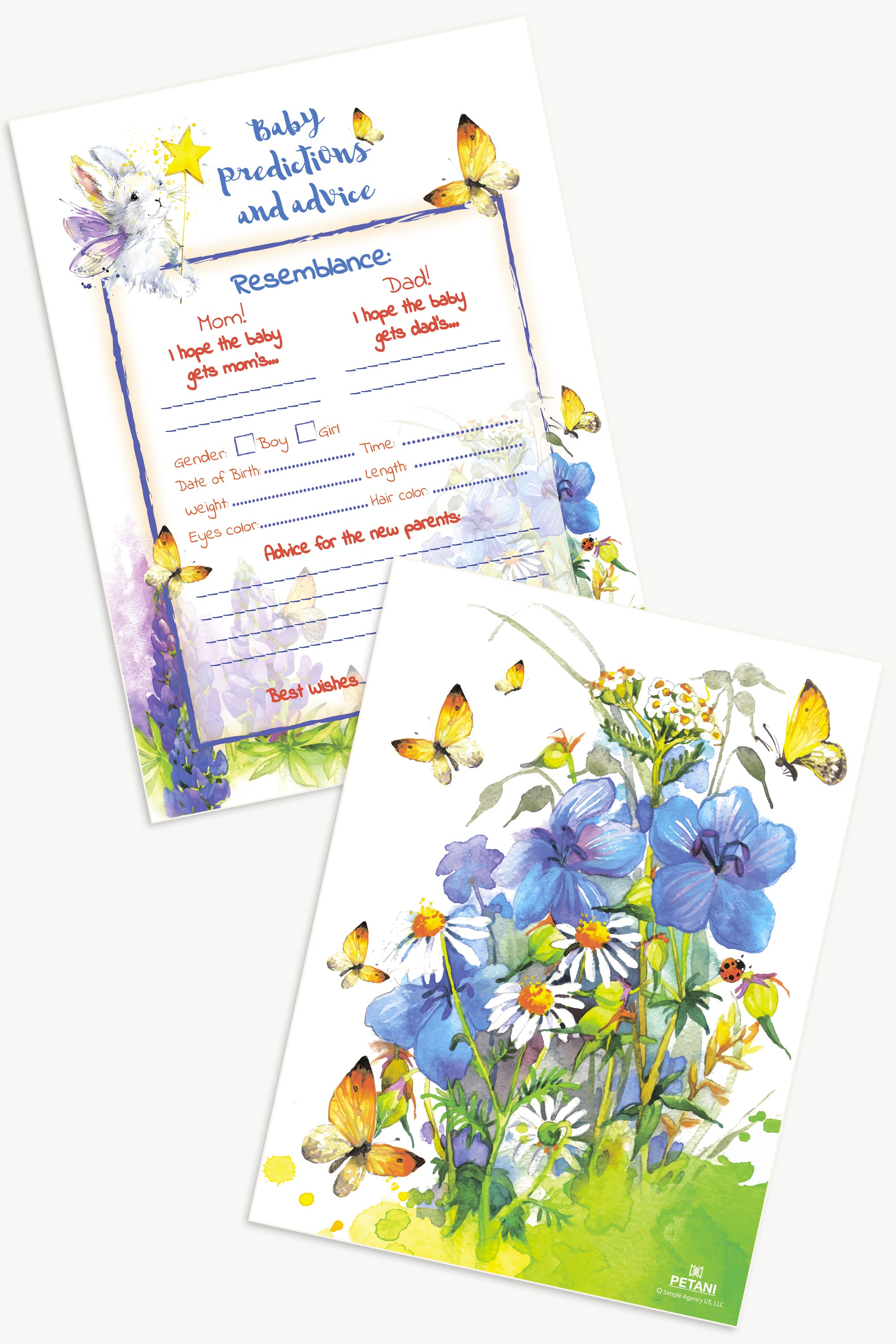 Baby Prediction and Advice Cards, 50 Baby Shower Invitations Game, Watercolor Design, Plastic Box