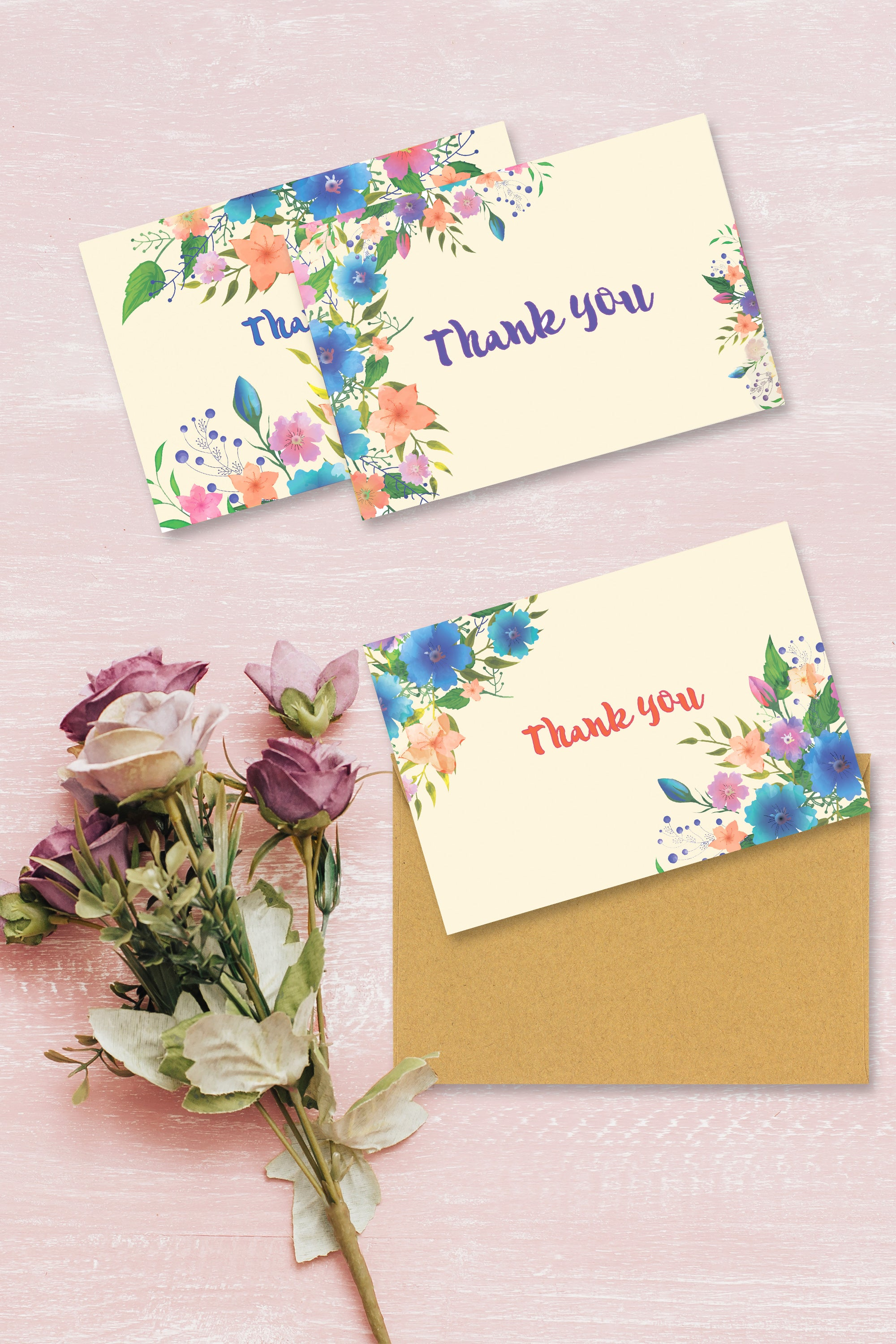 Thank You Cards Bulk, 48 Baby Shower Thank You Cards, 6 Watercolor Floral Rustic Vintage Cards Designs and Kraft Envelopes for Business Graduation Bridal Wedding Greeting Events by PETANI