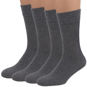 Air Wool Socks, Merino Wool Cotton Thermal Heated Yarn Dress Socks, 2 pair (Grey)
