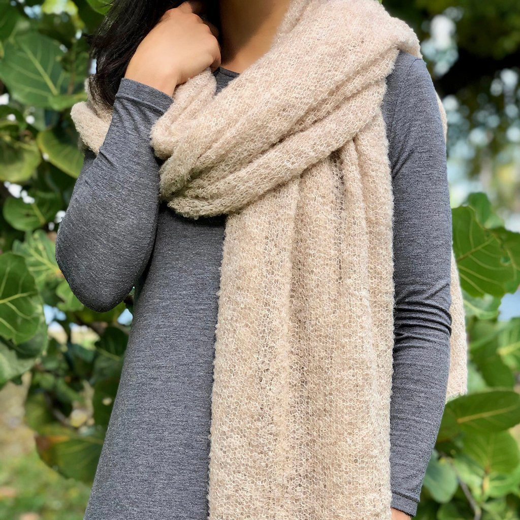 Almond Ultra Plush Alpaca Scarf