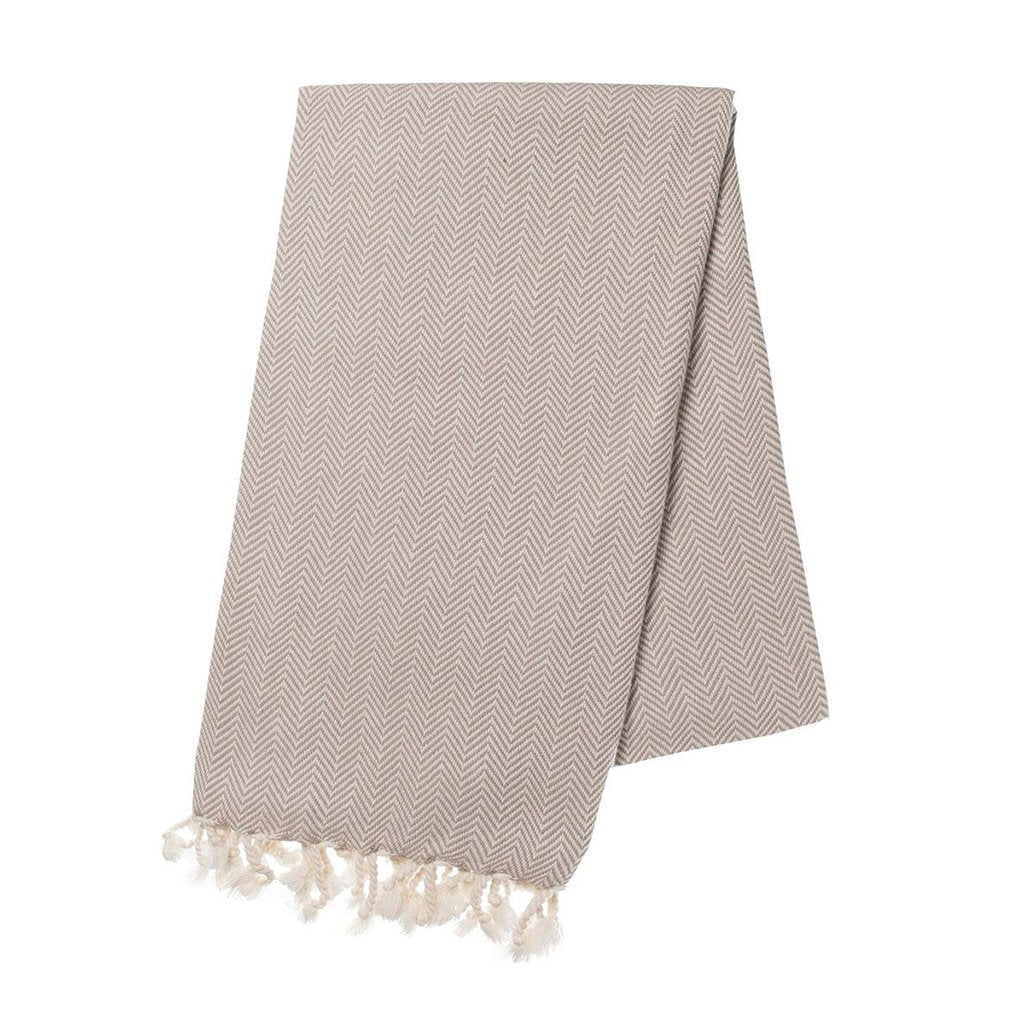 Sand Herringbone Turkish Towel