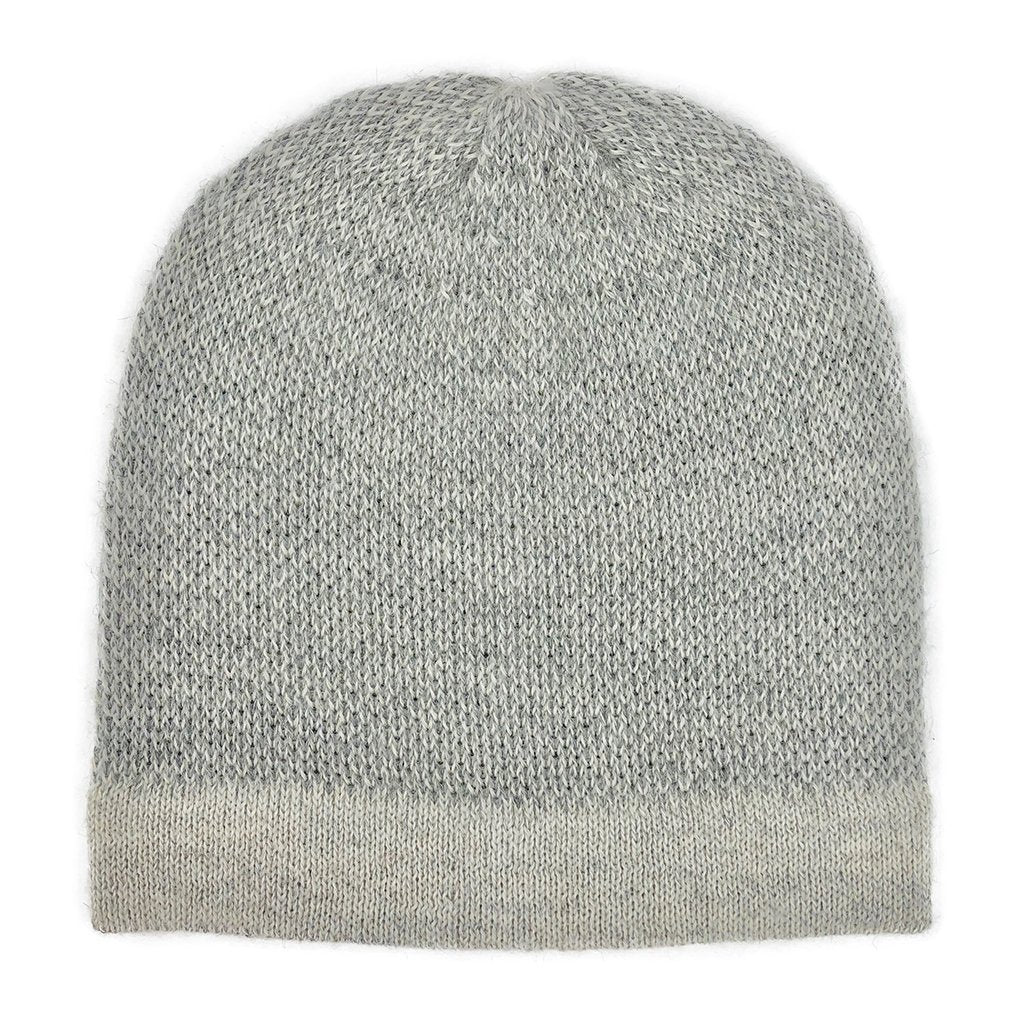 Gray Interwoven Alpaca Beanie