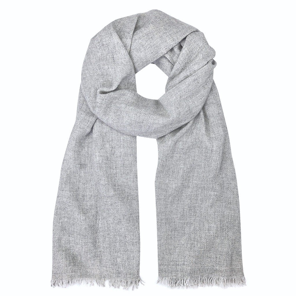 Heathered Gray Handloom Cashmere Scarf