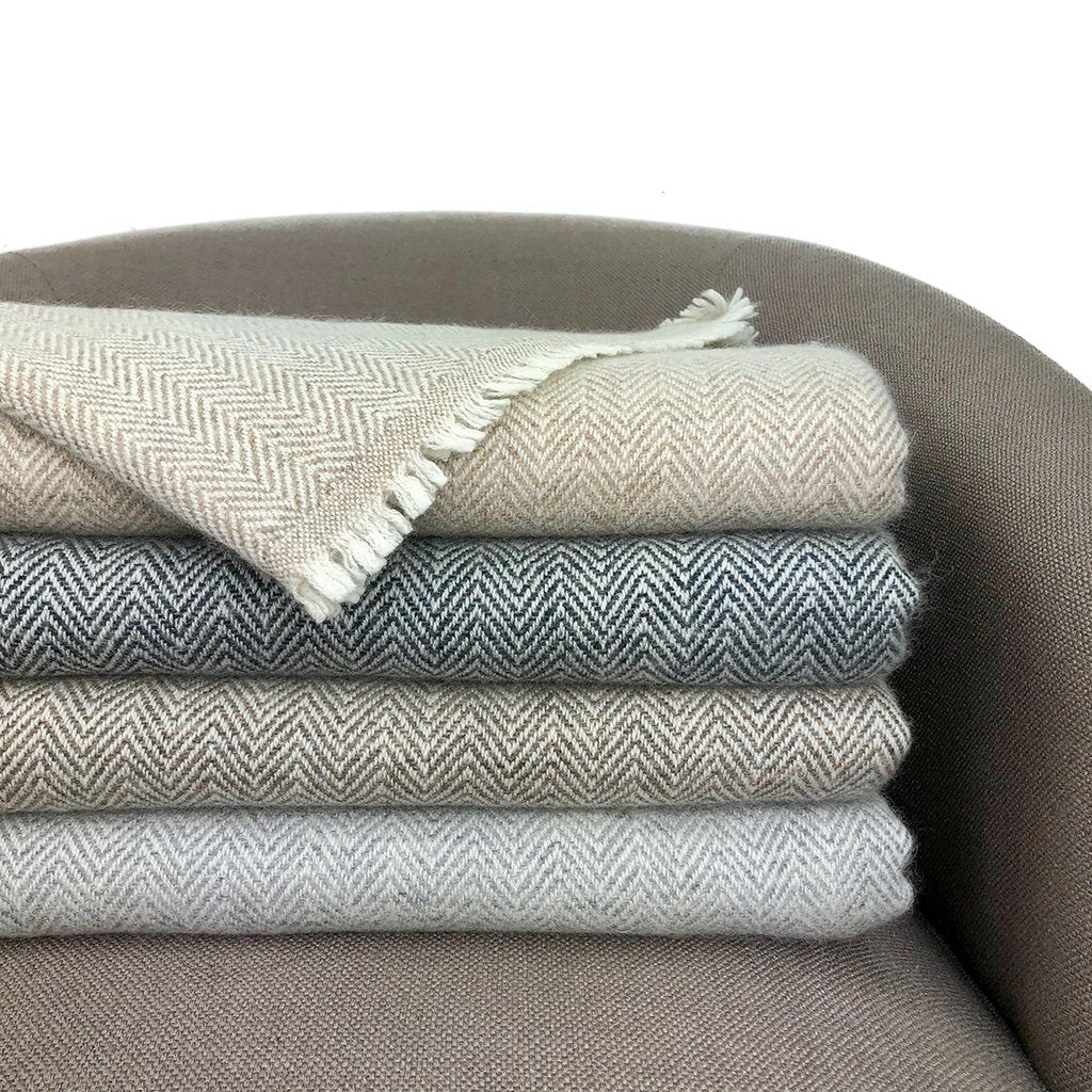 Gray Herringbone Cashmere Throw
