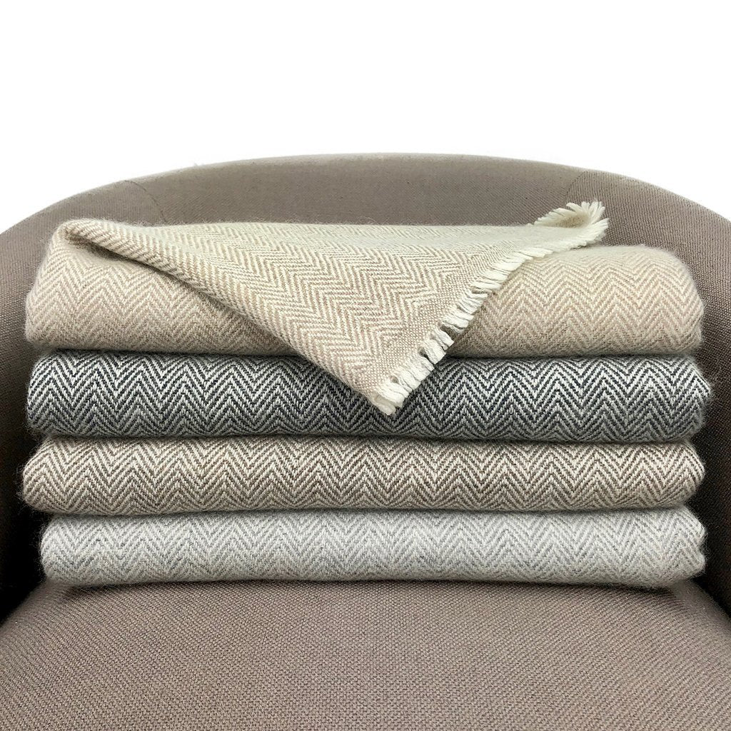 Espresso Herringbone Cashmere Throw