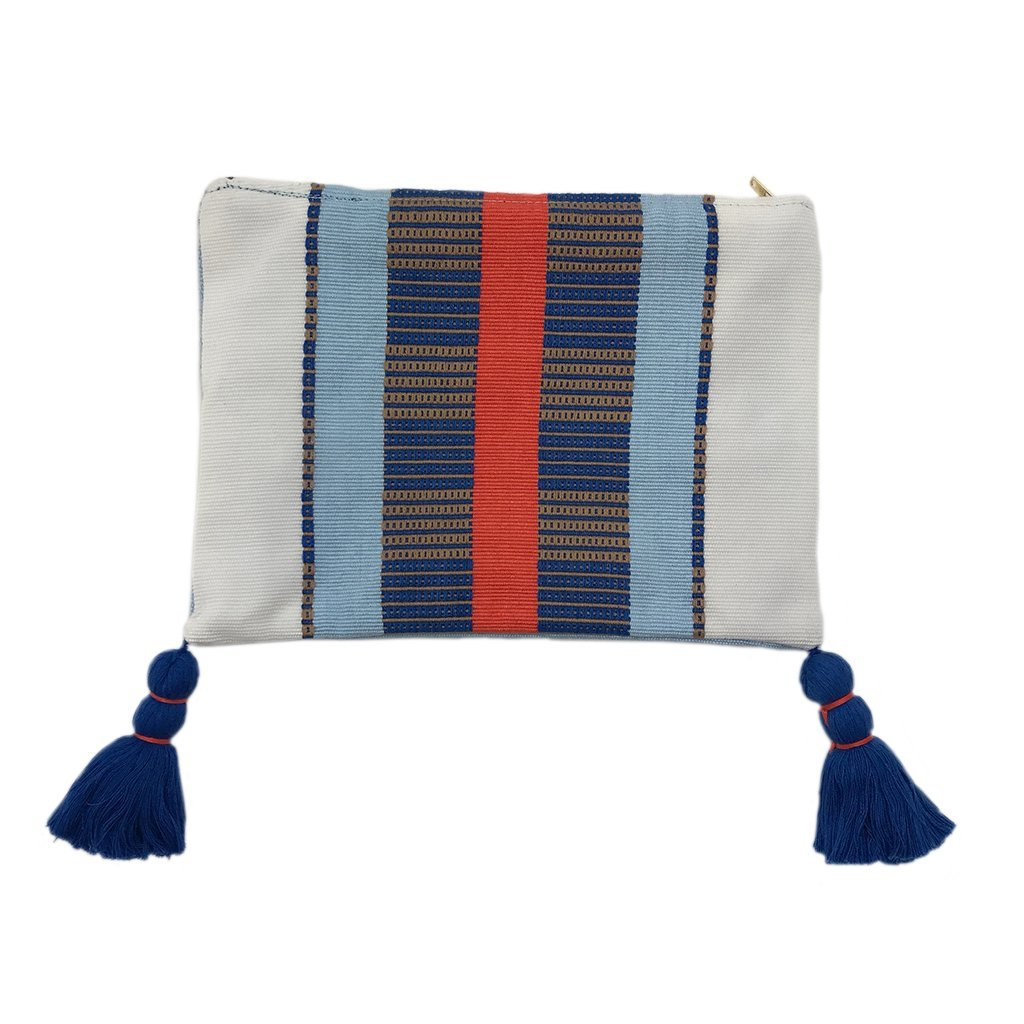 White Striped Backstrap Clutch