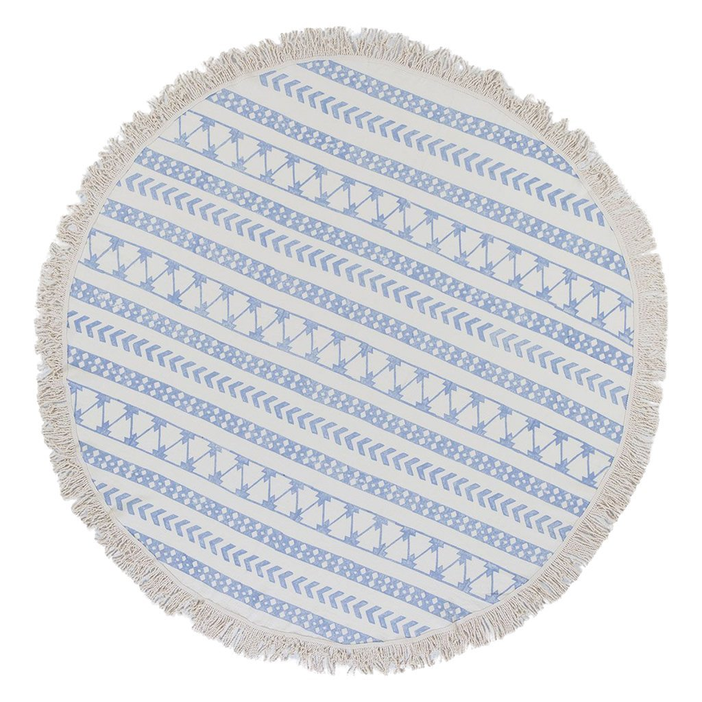 Stripe Block Print Roundie Beach Blanket